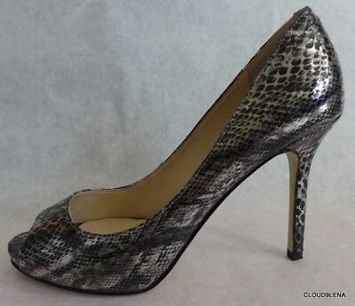 £17.74 • Buy New ENZO ANGIOLINI Size 8M Snakeskin Pattern Open Toe Pewter Pump Shoes MAIVEN
