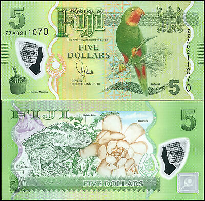 AU15.58 • Buy FIJI 5 DOLLARS - ND (2013) - Polymer Unc Replacement - P.115a Banknote