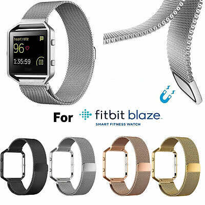 AU14.02 • Buy Stainless Steel Milanese Magnetic Loop Wrist Band Strap+Frame For Fitbit Blaze
