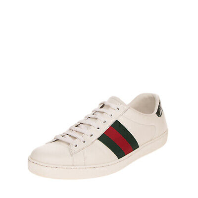 AU218.25 • Buy RRP €540 GUCCI Leather Sneakers EU 45 UK 11 US 11.5 Web Detail Made In Italy