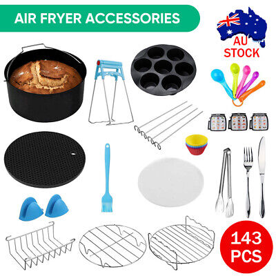 AU11.50 • Buy 8  Air Fryer 143PCS Accessories Frying Cage Dish Baking Pan Rack Pizza Tray Pot