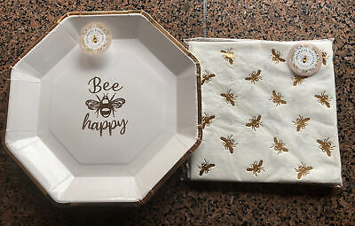 £7.95 • Buy Gold Bee Happy Party 10 Paper Plates 15 Napkins Tableware