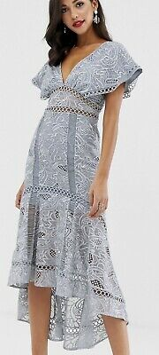 AU55 • Buy ASOS Design Flutter Sleeve Midi Dress In Corded Lace Sz 10