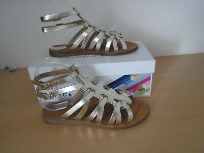 OFFICE Gold Leather Sardinia Gladiator Sandals Size 5 38 - New In Box  • 15£