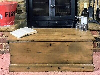 £174.99 • Buy Old Antique Pine Chest, Vintage Wooden Storage Trunk, Blanket Box, Coffee Table.