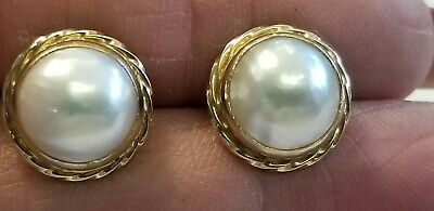 $180 • Buy Vintage 14K Yellow Gold 9MM Mabe Pearl Post Earrings