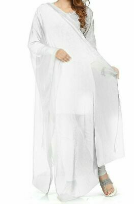 £7.86 • Buy Dupatta Women Indian White Stole Chiffon Scarf Embroidered Party Wear Shawl