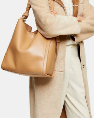 NEW Topshop Womens Helen Camel Ruched Hobo Bag | Faux Leather BNWT • 19.99£