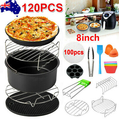 AU23.35 • Buy 120 PCS 8  Air Fryer Accessories Rack Cake Pizza Oven Barbecue FryingPan Tray AU