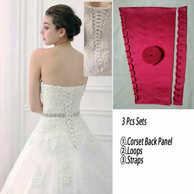 £7.99 • Buy Wedding Gown Zipper Replacement Corset Back Panel Loops Straps Satin Knit