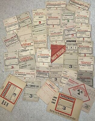 34 Different Unused Railway Wagon Labels. Includes LNER, BR, GWR & Caledonian • 10£