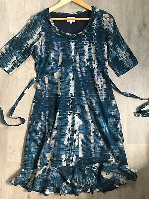 Brora Pretty Print Cotton Short  Sleeved MIDI Dress Tie Back Size 12 Vgc • 17.10£