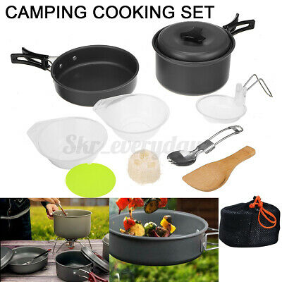 £9.19 • Buy 10Pcs/Set Portable Camping Cookware Kit Outdoor Picnic Hiking Cooking Equipment