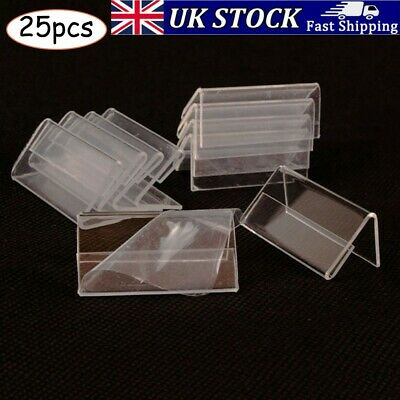 £7.53 • Buy 25X Acrylic Sign Display Holder Label Price Name Card Shop Tag Stand Clear 4x2cm