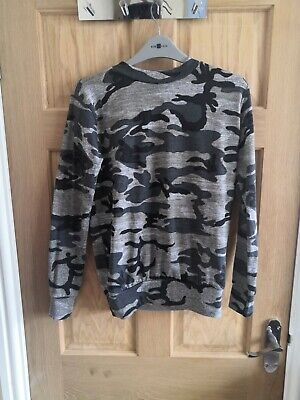 Signature Grey Camouflage Jumper High Neck Size 8-10 • 1.50£