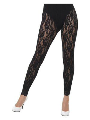 AU12.19 • Buy 80s Lace Leggings, Black