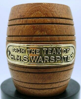 £45 • Buy Miniature Barrel / Matchpot Made From Teak Of H.M.S. Warspite