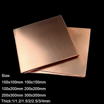 £60.95 • Buy Copper Sheet T2 Pure Copper Metal Plate 1/1.2/1.5/2/2.5/3/4mm Thick Multi-Sizes
