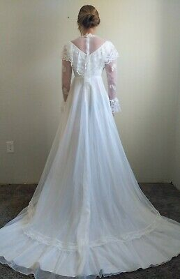 AU97.35 • Buy Vintage 70s 80s Country Prairie Wedding Dress White Lace Train Union JCPenney XS