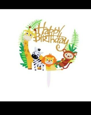 £3.90 • Buy Happy Birthday Cake Toppers Animal Decorations Safari Party Supplies Jungle Them