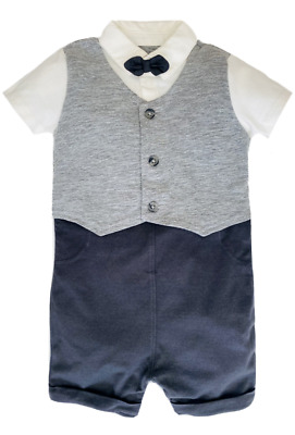 £6.99 • Buy Baby Boys Waistcoat Suit Romper GEORGE Bow Tie Formal Party Birthday Outfit NEW