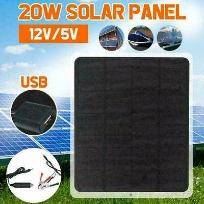 £14.99 • Buy 20W Solar Panel 12V Trickle Charge Battery Charger Maintainer Marine RV Car USB