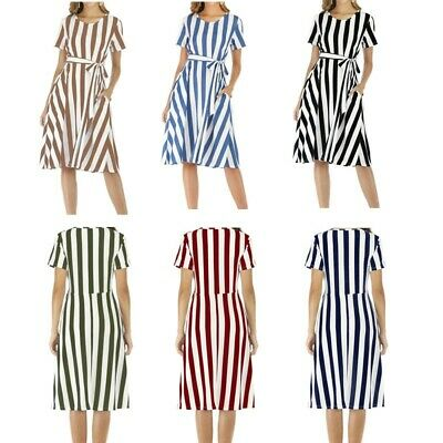 AU43.27 • Buy Maternity Summer Dress Casual Short Sleeves Round Neckline Striped Lace-up Skirt