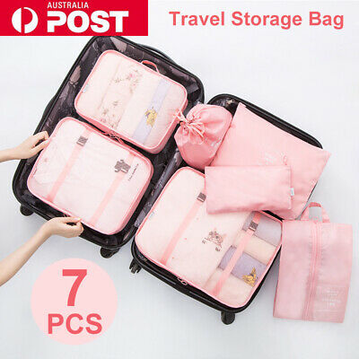 AU14.99 • Buy 7PCS Travel Luggage Storage Bags Clothes Organiser Packing Cube Suitcase Pouches