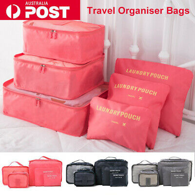 AU10.99 • Buy 6PCS Travel Luggage Storage Bags Clothes Organiser Packing Cube Suitcase Pouches