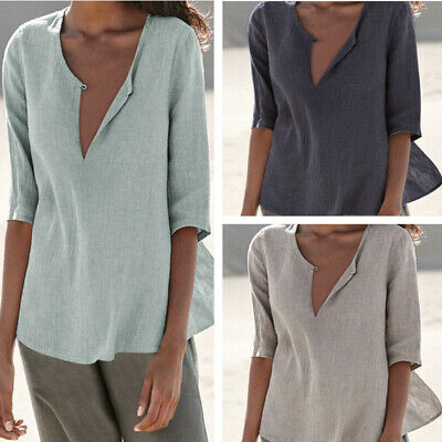 £8.99 • Buy UK Womens V Neck 3/4 Sleeve Casual T Shirt Tops Baggy Shirt Blouse Tee Plus Size