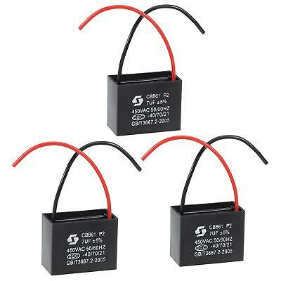 AU16.97 • Buy Ceiling Fan Capacitor CBB61 7uF 450V 2 Wires Metallized Film Capacitor 3Pcs