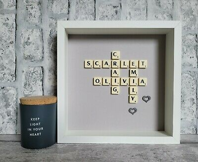 £26 • Buy (b) Scrabble Picture Box Frame Personalised Word Wall Art Plain Card Backgrounds