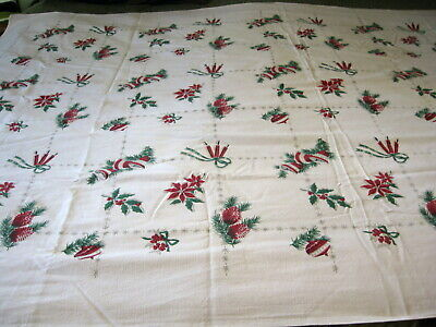 $ CDN15.76 • Buy Vintage Christmas Print Tablecloth White Cotton Bell Candles Holly 55  X 82