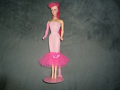 Barbie Ponytail Repro OOAK Doll With Pink Hair And Pink Dress • 2.14£