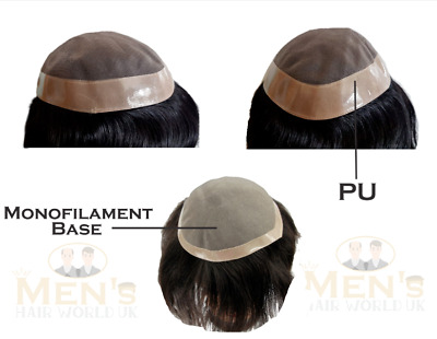 £124.99 • Buy Men's UK Hairpiece Toupee Hair Replacement System Wig Fine Mono With PU Around