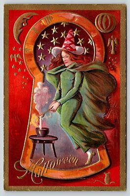 $ CDN24.17 • Buy Halloween~Witch Redhead In Keyhole~Green Gown & Cape~Stirs Brew~Gold Trim~NASH 3