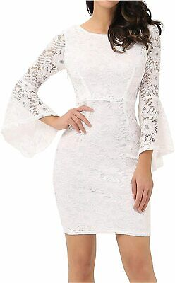 AU12.74 • Buy Noctflos Long Sleeve Lace Cocktail Dresses For Women Party, White, Size Small Ey