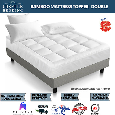 AU75.02 • Buy Giselle Bedding Double Bed Pillowtop Mattress Topper 1000GSM Bamboo Protector