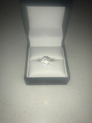 AU1200 • Buy 18ct White Gold Cluster Engagement Ring Set With A Centre Diamond