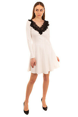 AU19.59 • Buy RRP €190 PINKO A-Line Dress Size 42 / M Lace Trim Ruffles V Neck Made In Italy