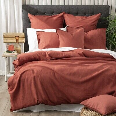 $ CDN150.65 • Buy Renee Taylor Cavallo 100% French Linen Quilt Cover Set- Paprika