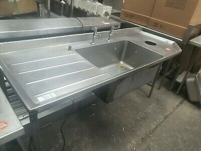 £275 • Buy Commercial Stainless Steel Single Bowl Sink With Left Hand Drainer - VGC