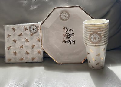 £9.95 • Buy Gold Bee Happy Party 10 Paper Plates, 10 Paper Cups And 15 Napkins Tableware NEW