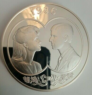 AU333 • Buy 1986 Royal Mint - The Wedding - 5oz Silver Proof 25 Pound Coin With Box And COA