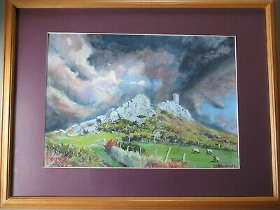 £75 • Buy Large R J BLACKMORE Brent Tor Church Dartmoor Watercolour Painting Signed Framed