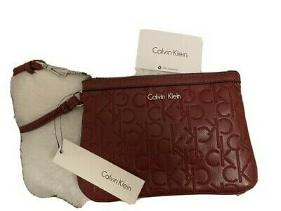 £8 • Buy BN Calvin Klein Burgundy/Dark Red Clutch Purse Leatherlike With Tags