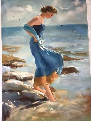Original Oil Painting From China Of Lady By The Sea 94cm X 64cm Unframed • 10£