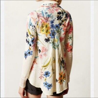 $ CDN54.44 • Buy Anthropologie Knitted And Knotted Floral Cardigan Size Large Open Circle Spring