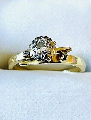 AU400 • Buy Antique Style White Diamond Ring Set In 18ct Solid Yellow Gold Size Size K (5.25