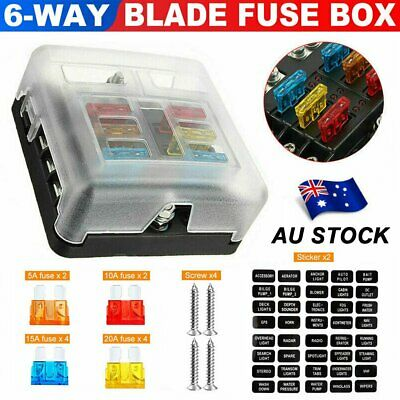 AU21.45 • Buy Blade Fuse Box 6-Way 12V 32V Block Holder LED Indicator Auto Marine Waterproof